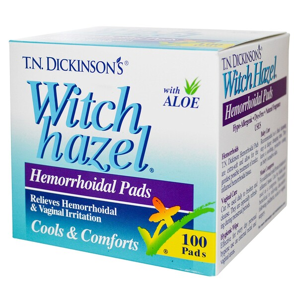 Dickinson Brands, T.N. Dickinson's Witch Hazel Hemorrhoidal Pads, with Aloe, 100 Pads