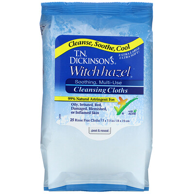 Dickinson Brands Witch Hazel, Cleansing Cloths, 25 Rinse Free Cloths