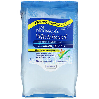 Dickinson Brands, Witch Hazel, Cleansing Cloths, 25 Rinse Free Cloths