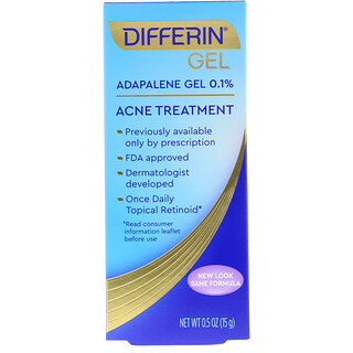 Differin, Adapalene Gel 0.1 %, Acne Treatment, 0.5 oz (15 g)