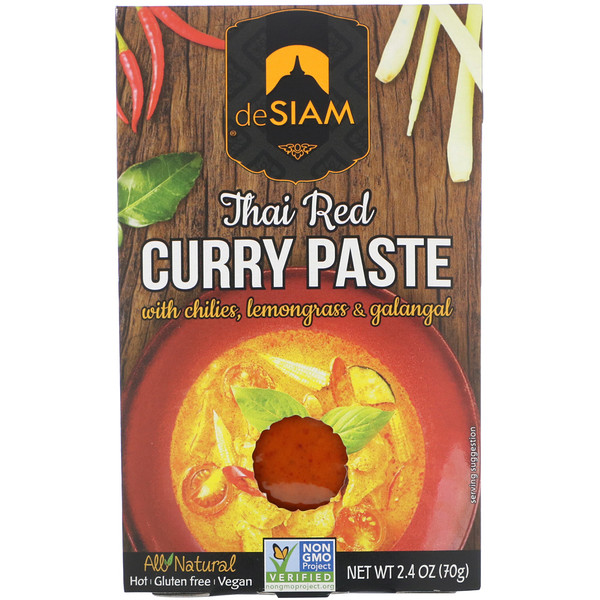 deSIAM, Thai Red Curry Paste, Hot, 2.4 oz (70 g) (Discontinued Item)