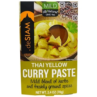 deSIAM, Thai Yellow Curry Paste, Mild, 2.4 oz (70 g)