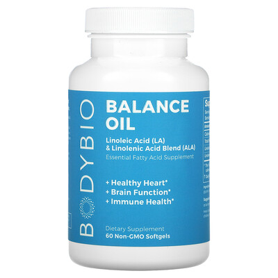 BodyBio Balance Oil, Linoleic Acid (LA) & Linolenic Acid Blend (ALA), 60 Non-GMO Softgels