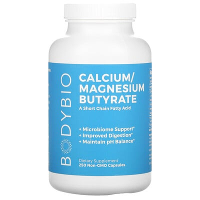 BodyBio Calcium/ Magnesium Butyrate, 250 Non-GMO Capsules