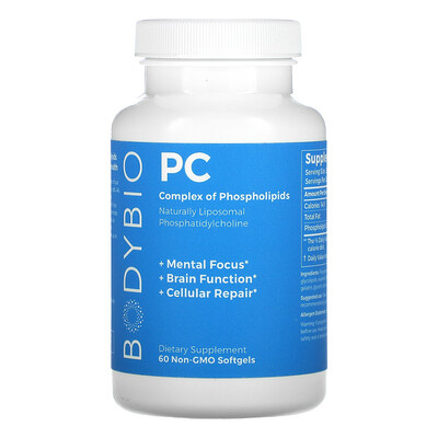 BodyBio PC, Complex of Phospholipids, 1,300 mg, Non-GMO 60 Softgels