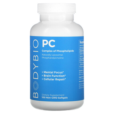 BodyBio PC, Complex of Phospholipids, 100 Non-GMO Softgels