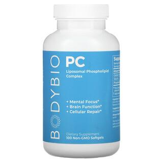 BodyBio, фосфатидилхолин, комплекс фосфолипидов, без ГМО, 100капсул