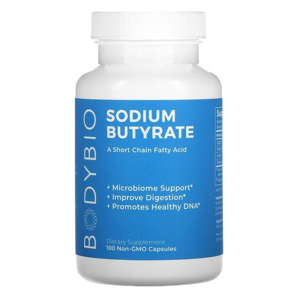 BodyBio, бутират натрия, 100 капсул без ГМО