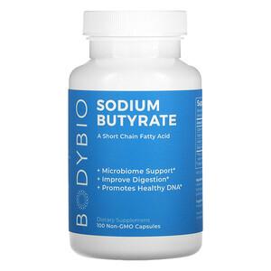 BodyBio, Sodium Butyrate, 100 Non-GMO Capsules'