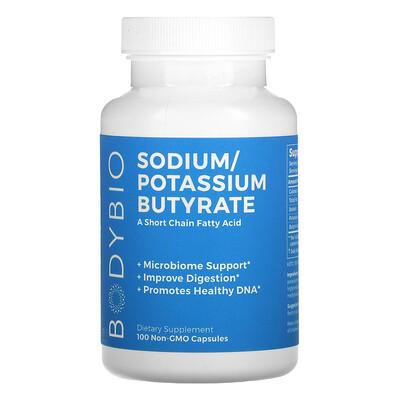 BodyBio Sodium / Potassium Butyrate, 100 Non-GMO Capsules