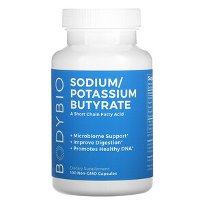 BodyBio, Sodium / Potassium Butyrate, 100 Non-GMO Capsules'
