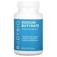 BodyBio, Sodium Butyrate, 60 Non-GMO Capsules