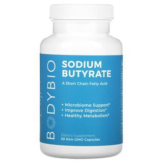 BodyBio, бутират натрия, 60капсул без ГМО