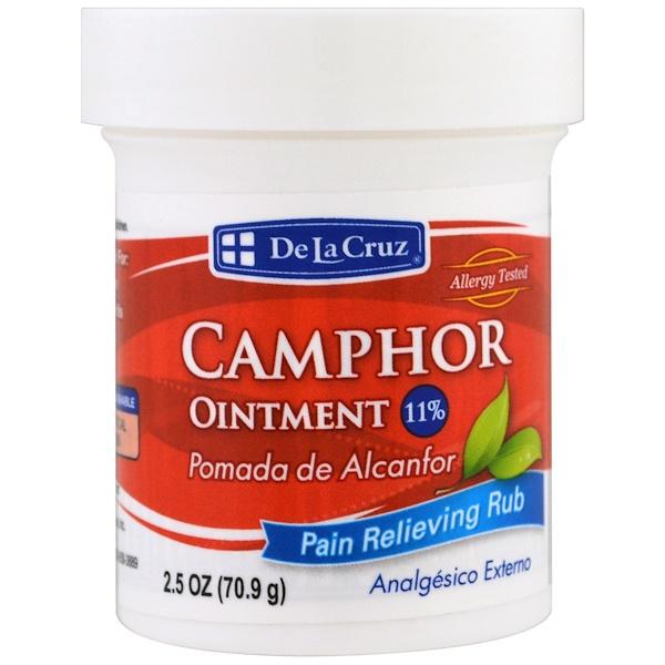 De La Cruz, 樟腦軟膏,緩解疼痛,2、5盎司(70、9克)