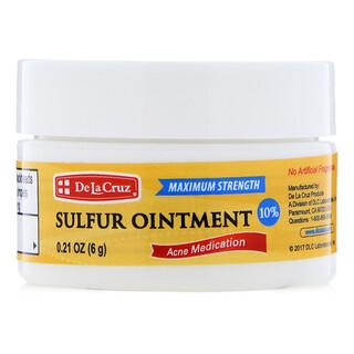 De La Cruz, 硫黄軟膏、にきび薬、マキシマムストレングス、0.21 oz (6 g)