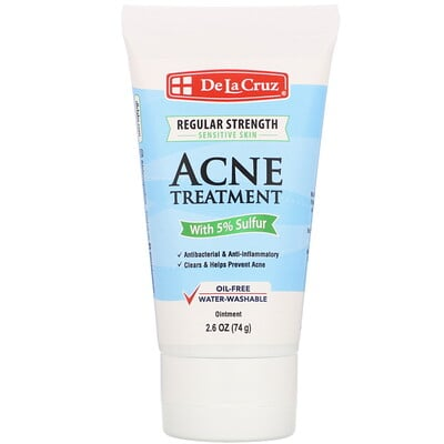 De La Cruz Ointment, Acne Treatment with 5% Sulfur, Regular Strength, 2.6 oz (74 g)