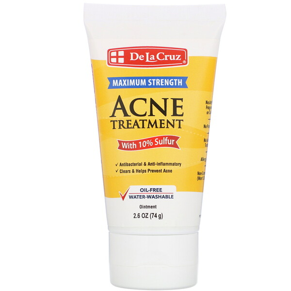 De La Cruz, Ointment, Acne Treatment with 10% Sulfur, Maximum Strength, 2.6 oz (74 g)