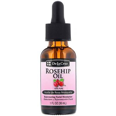 Купить De La Cruz Rosehip Oil, 100% Pure, Rejuvenating Facial Moisturizer, 1 fl oz (30 ml)