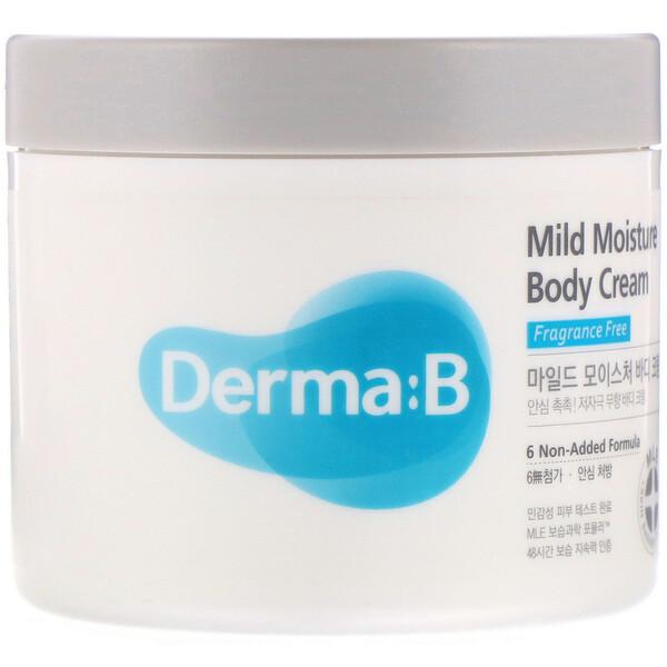 Derma:B, 마일드 모이스처 바디 크림, 무향, 14.54 fl oz(430 ml)