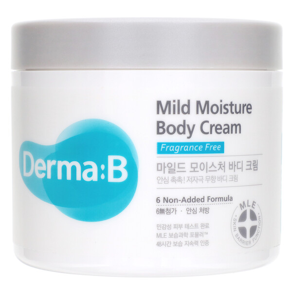 Derma:B, Mild Moisture Body Cream, Fragrance Free, 14.54 fl oz (430 ml)