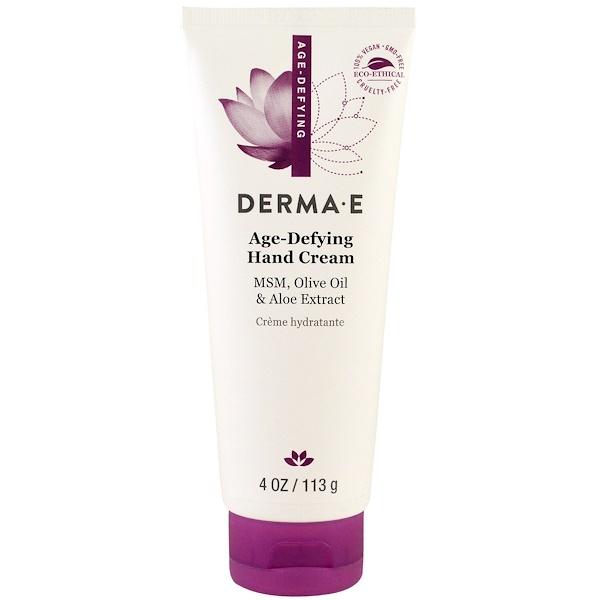 Derma E, Hand Cream, Age-Defying, 4 oz (113 g) (Discontinued Item)