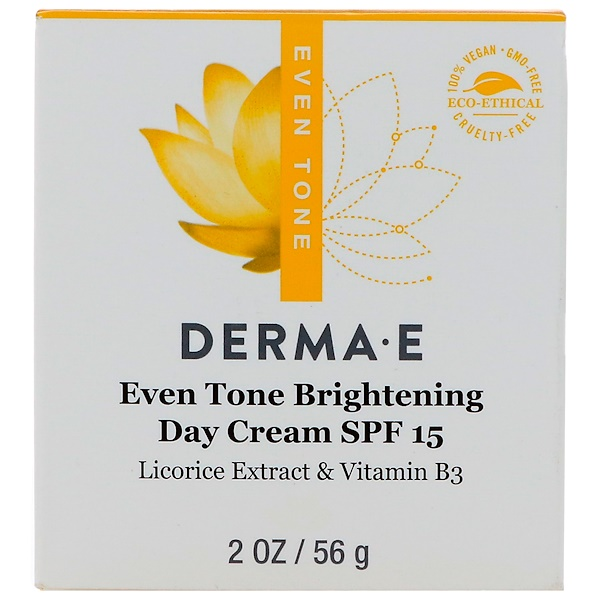 Derma E, Even Tone Brightening Day Cream, SPF 15, 2 oz (56 g) (Discontinued Item)