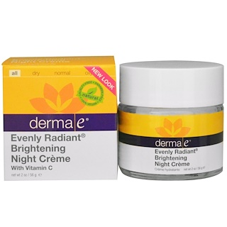 Derma E, Evenly Radiant Brightening Night Cream, with Vitamin C, 2 oz (56 g)