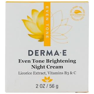 Derma E, Even Tone Brightening Night Cream, 2 oz (56 g)