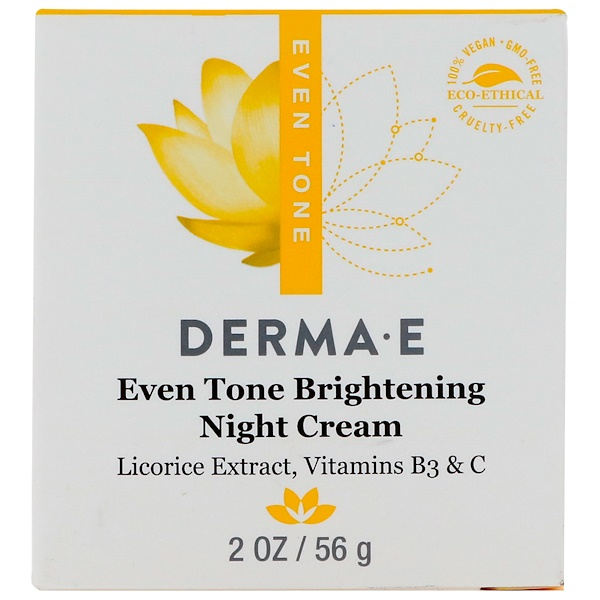 Derma E, Even Tone Brightening Night Cream, 2 oz (56 g) (Discontinued Item)