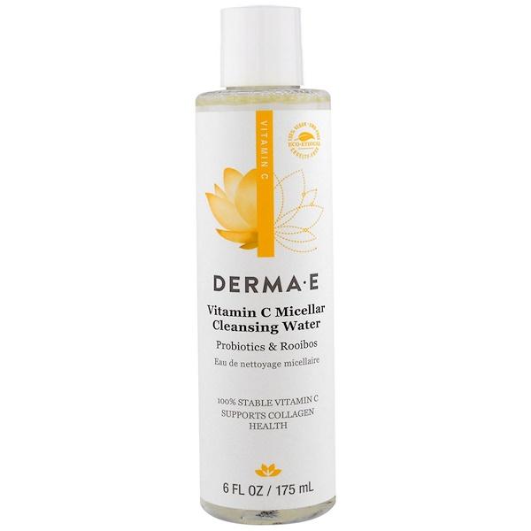Derma E, Мицеллярная очищающая вода с витамином C, с пробиотиками и чаем ройбуш