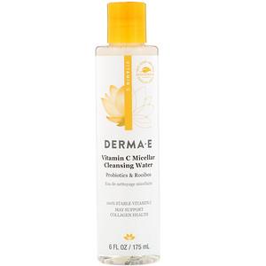 Дерма Е, Vitamin C Micellar Cleansing Water, Probiotics & Rooibos, 6 fl oz (175 ml) отзывы покупателей