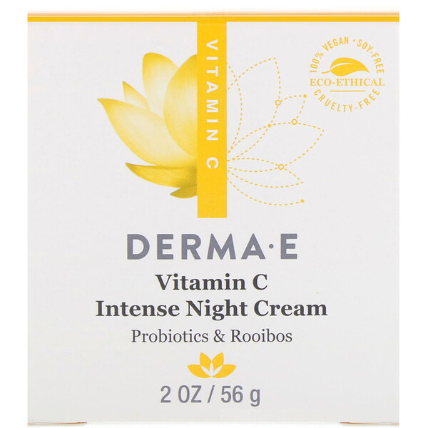 Derma E, Vitamin C Intense Night Cream, Probiotics & Rooibos, 2 oz (56 g)