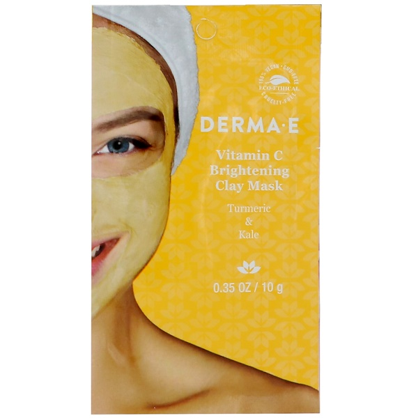 Vitamin C Brightening Clay Mask, Turmeric & Kale, 0.35 oz (10 g)