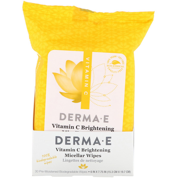 Derma E, Vitamin C Brightening Micellar Wipes, 30 Pre-Moistened Wipes