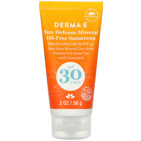 Derma E, Sun Defense Mineral Oil-Free Sunscreen, SPF 30, Unscented, 2 oz (56 g)