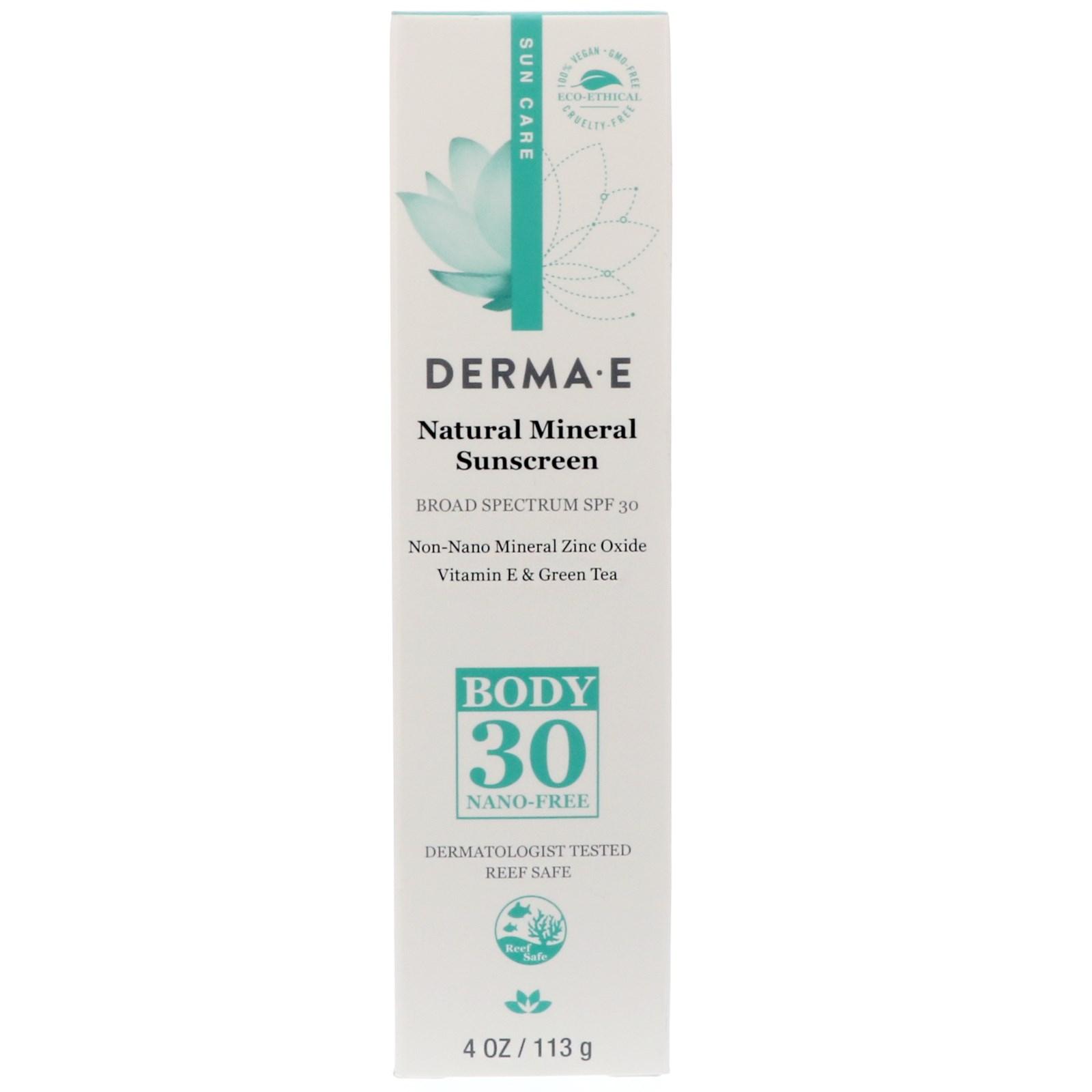 Derma E, Натуральный минеральный солнцезащитный крем, фактор SPF 30, 4 унции (113 г)