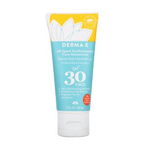 Дерма Е, All Sport Performance Face Sunscreen, SPF 30, Cooling Aloe & Cucumber, 2 fl oz (59 ml) отзывы