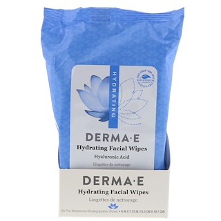 Derma E, Hydrating Facial Wipes, 25 Pre-Moistened Biodegradable Wipes