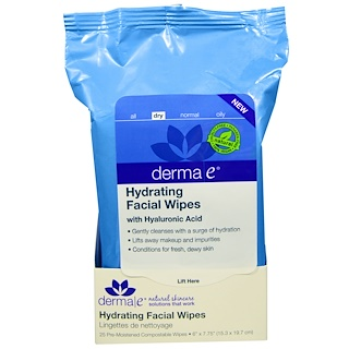 Derma E, Hydrating Facial Wipes, 25 Pre-Moistened Compostable Wipes