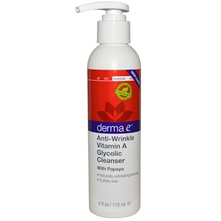 Derma E, Anti-Wrinkle Vitamin A Glycolic Cleanser with Papaya, 6 fl oz (175 ml)