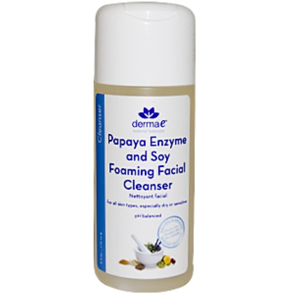 Derma E, Papaya Enzyme and Soy Foaming Facial Cleanser,  6 fl oz (175 ml) (Discontinued Item)