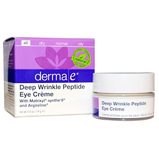 Derma E, Deep Wrinkle Peptide Eye Cream, 1/2 oz (14 g)