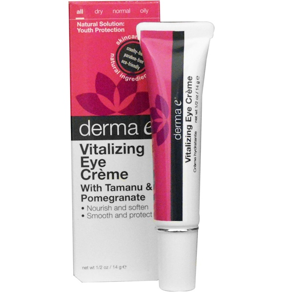 Derma E, Vitalizing Eye Cream with Tamanu & Pomegranate, 1/2 oz (14 g) (Discontinued Item)