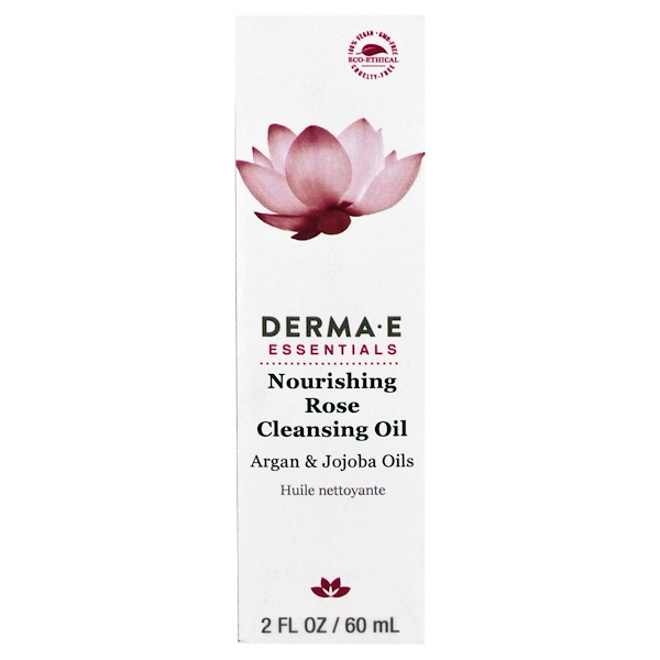 Derma E, Nourishing Rose Cleansing Oil, Argan & Jojoba Oils, 2 fl oz (60 ml) (Discontinued Item)