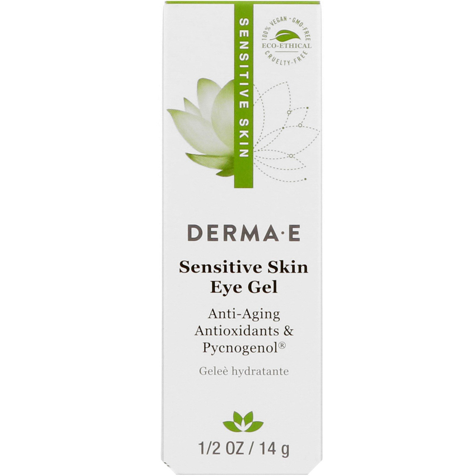 Derma E, Гель для чувствительной кожи и глаз, 1/2 унц. (14 г)