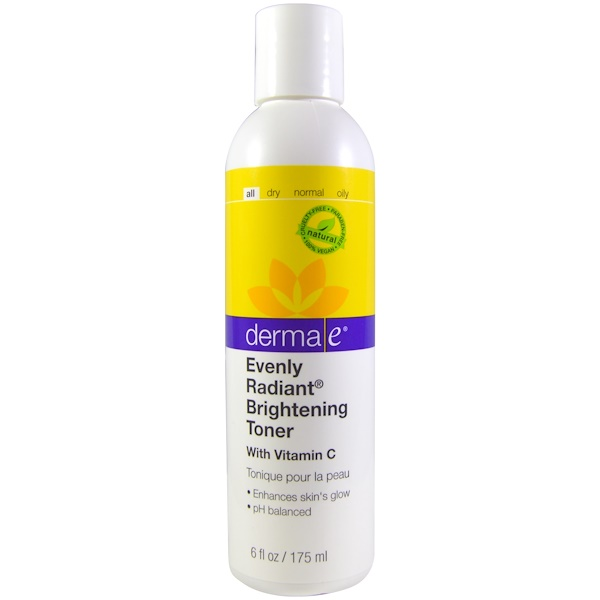Derma E, Evenly Radiant Brightening Toner with Vitamin C, 6 fl oz (175 ml) (Discontinued Item)