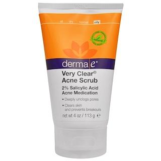 Derma E, Скраб при угревой сыпи Very Clear, 2% салициловая кислота и комплекс против повреждений кожи, 4 унции (113 г)