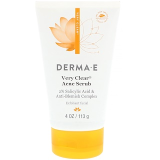 Derma E, Very Clear Acne Scrub, 2% Salicylic Acid & Anti-Blemish Complex, 4 oz (113 g)