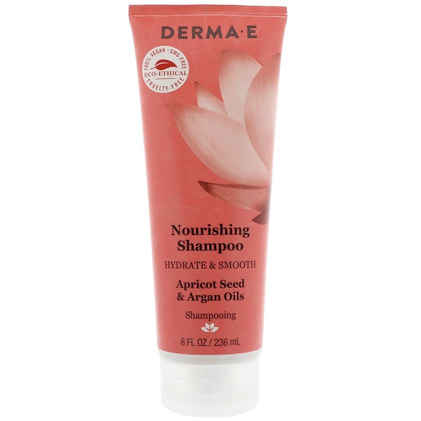 Derma E, Nourishing Shampoo, Hydrate & Smooth, Apricot Seed & Argan Oils, 8 fl oz (236 ml) (Discontinued Item)