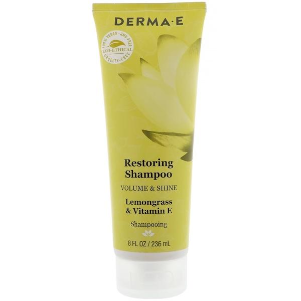 Derma E, Restoring Shampoo, Volume & Shine, Lemongrass & Vitamin E, 8 fl oz (236 ml) (Discontinued Item)